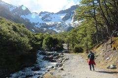 Begin van een mooie wandeling naar de Martial Gletsjer