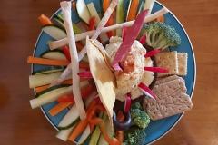 Kleurrijk veganistisch voorgerecht in restaurant El Living in Puerto Natales